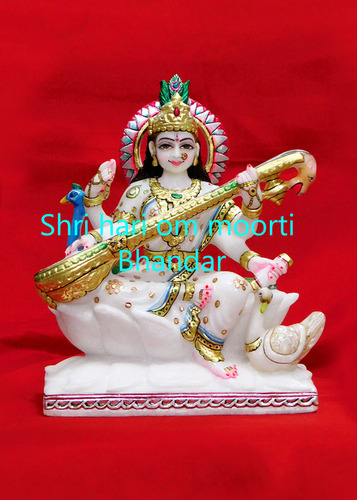 Religious Marble Goddess Saraswati Mata Statue
