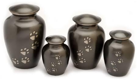 Brass Classic Slat Paw Print Urn