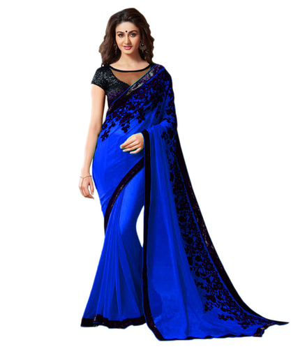 Kapadewala Presents Blue Colour Georgette Saree in   Puna Kumbariya Road