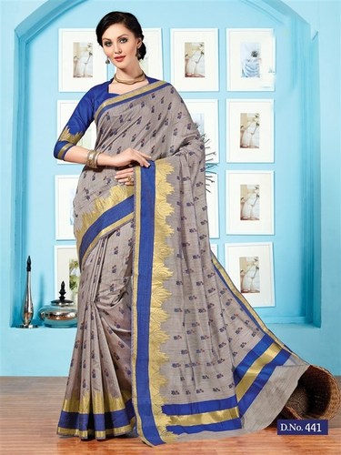 Grey Blue Fancy Cotton Printed Saree With Blouse Fabric
