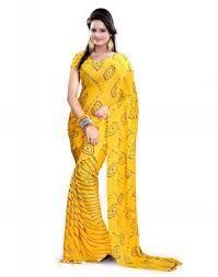Designer Bandhani Yellow Saree