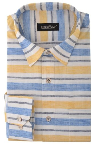 Yellow And Blue Stripe Formal Shirts