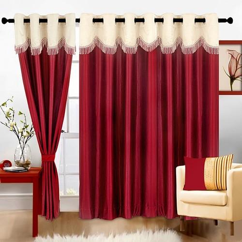 Polyester Maroon Solid Long Door Curtain in  Jamia Nagar