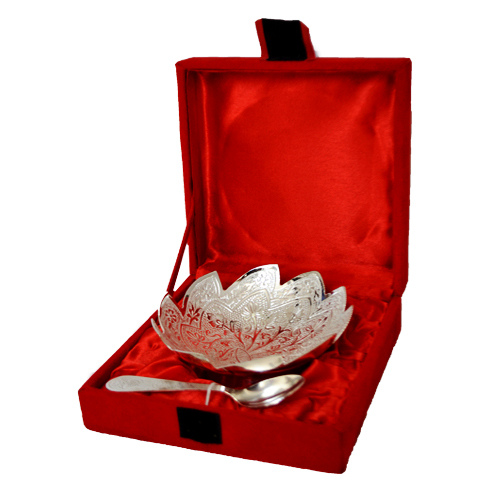 Silver Plated Lotus Shape Brass Bowl With Spoon in  Pratap Nagar
