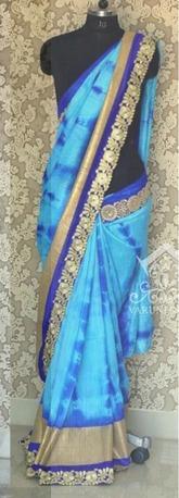 Sky Blue Weightless Party Wear Saree in  Mahavir Market (Rr)