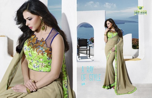 Georgette Saree With Embroidery Blouse Piece