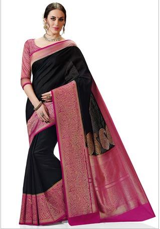 Woven Kanchipuram Silk Saree In Black