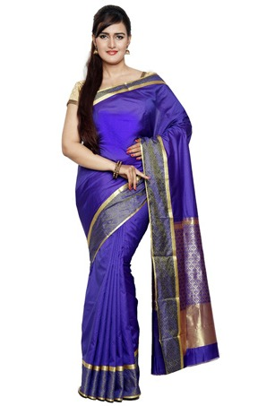 Woven Kanchipuram Silk Saree In Royal Blue