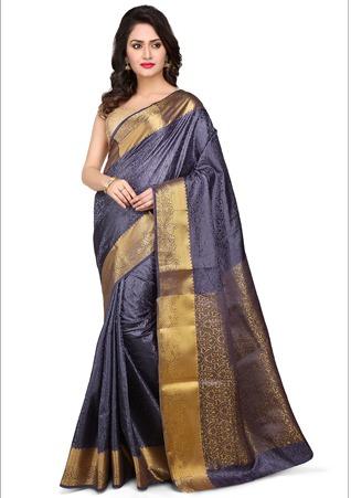 Woven Art Kanchipuram Silk Saree In Dark Grey