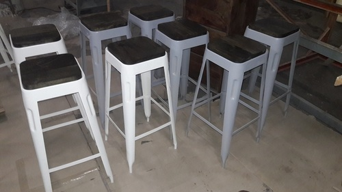 Tolix Bar Stool With Wooden Top