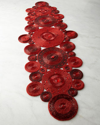 Red Circle Beaded Table Runner
