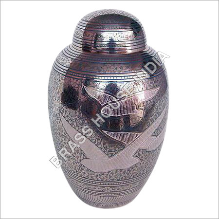 Brass Urn Engraved with Nickel Plated