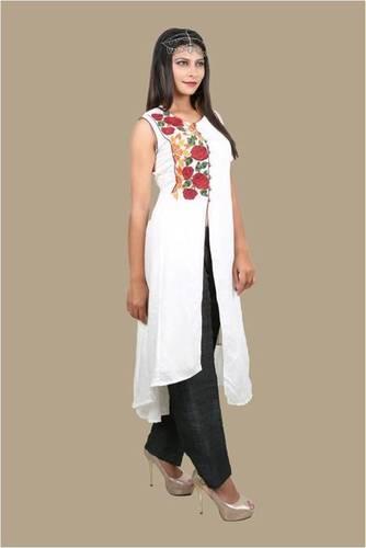 Organic White Embroidered Kalidaar Ladies Kurtas