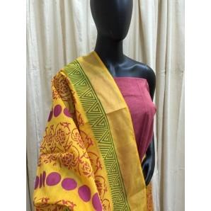Hand Block Printed Maheswari Silk Dupatta Set