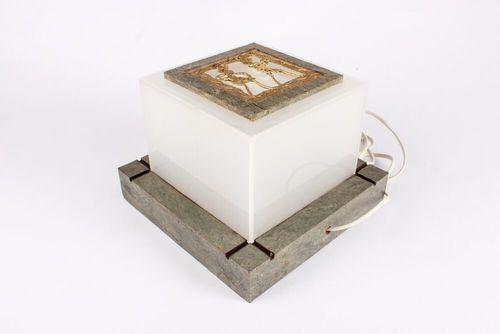 Acrylic Lamp With Stone Veneer Base