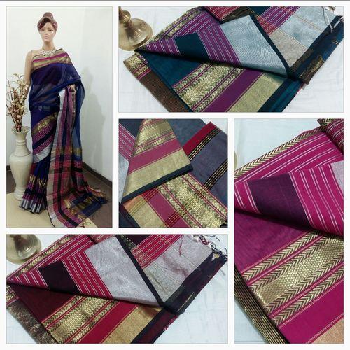 Multi Zari Handloom Cotton Silk Sarees