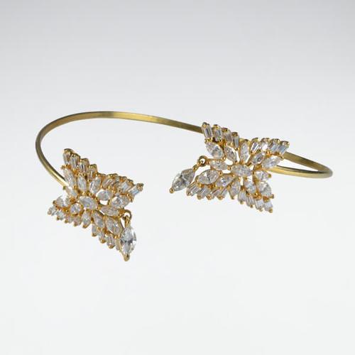 Gold Polish Adjustable Bajubandh In American Diamond