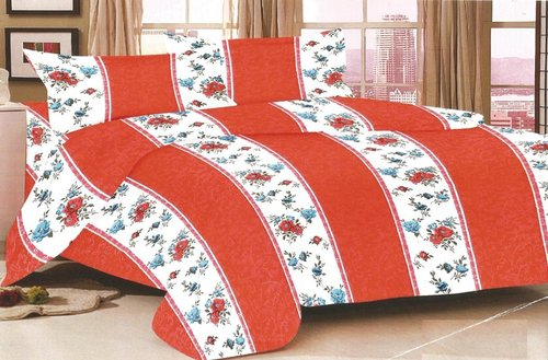 Single Bedsheet 100% Cotton Floral Stripe Printed Pink Colour in  Satellite