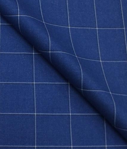 Blue Broad Check Blazer Fabric