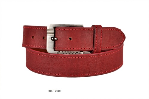 Cherry Red Plain Leather Belt in  Jajmau