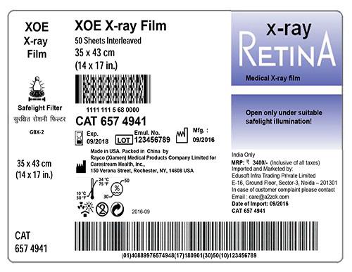 Retina X-Ray Blue And Green Sensitive Film