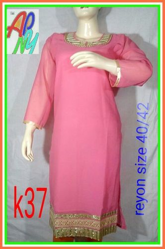 Ladies Pink Cotton Kurti