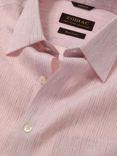 Linen Tailored Fit Pink Shirt