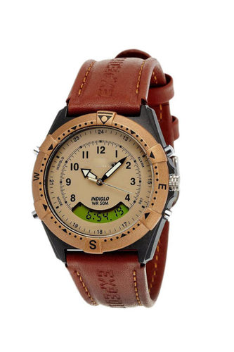 Analog Digital Beige Dial Watch