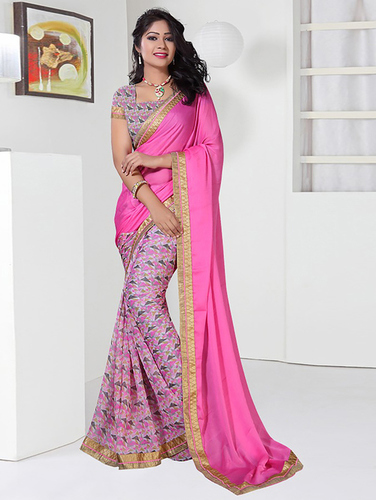 Pink And Multi Colour Lace Work Designer Georgette Sarees