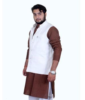 White Khadi Cotton Jawahar Jackets