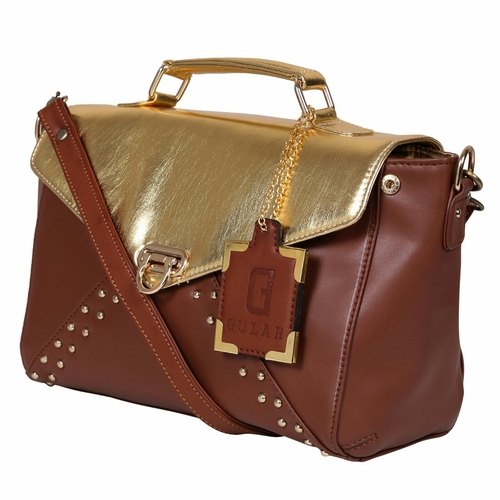 Golden Tan Synthetic Leather Bags in  Naraina