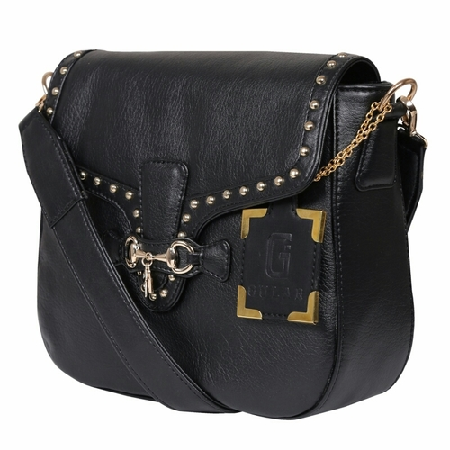 Und 00114 Black Cross Body Leather Bags in  Naraina