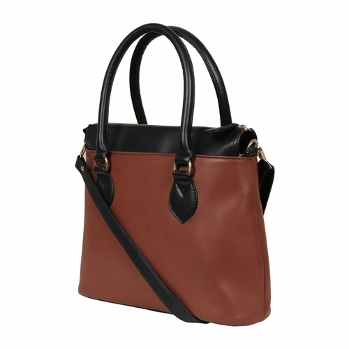 UND 00117 Tan Black Ladies Synthetic Leather Bags in  Naraina