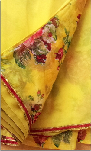 Yellow Saree With Red Border