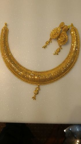 Gold Necklace With Earrings in  Regharpura