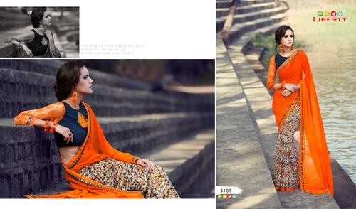 GAURI 3101 Spray Printed Georgette Designer Saree in  Millenium Textile Market (Rr)