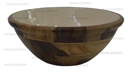 Wooden White Enameled Bowls in  Lakdi Fazalpur