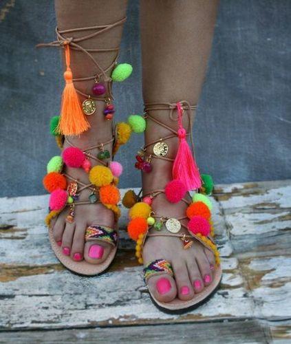 Ladies Unique Hippie Gladiator Boho Pompom Sandals