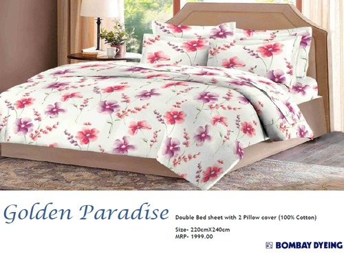 Golden Paradise Double Bed Sheets in  Ghitorni