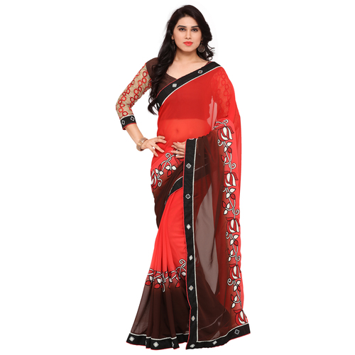 Embroidered Red And Brown Color Georgette Sarees