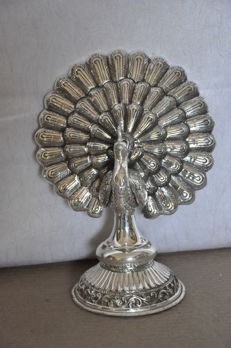 Silver Peacock Statues