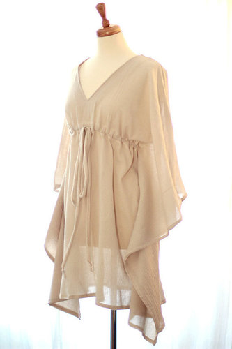 Cotton Gauze Beach Coverup Mini Caftan Dress