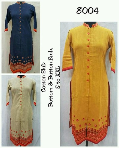 Cotton Slub Ladies Kurtis in  Mansarovar