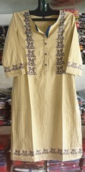 Cotton Slub Embroidered Kurti in  Sarangpur