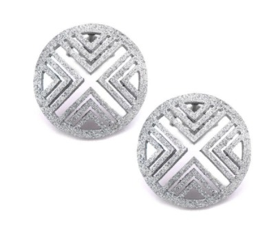 Silver Stainless Steel Modern X Pattern Button Earrings