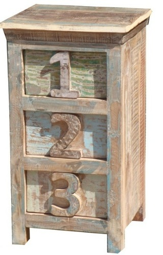 Reclaimed Three Drawer Number Bedside in  Basni Phase-Ii