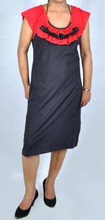 Black Ladies Knee Length Tunic Dress With Designer Neck