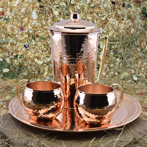 Copper Water Pitcher With Mugs in  Jayantipur