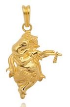 22 Kt Gold Dancing Ganesha With The Musical Flute