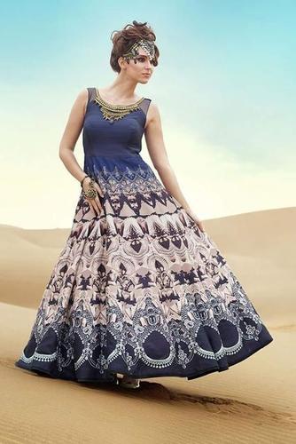Digital Printed Silk Gown